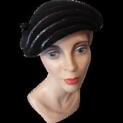 SALE Mid-Century Black Felt Hat with Iridescent Sequin Decoration Melosoie by Henry Pollak 100