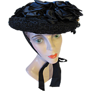 Victorian Era Mourning Hat in Black in Net, Lace and Velvet