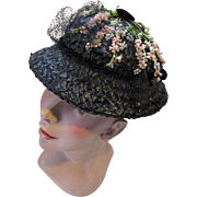 SALE Mid Century Black Straw Hat with Tiny Pink and Blue Flower Sprigs Lilyan Models