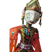 SALE Indonesian Shadow Puppet Masked Figure in Wood, Cloth and Paint