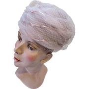 SALE Mid Century Whisper Pink Pill Box Hat in Net and Sequins Jane Morgan