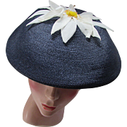 Mid Century Navy Mushroom Hat with White Organdy Daisy on Top