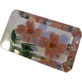 SALE Vintage Lucite Reverse Painted Brooch with Pink Roses