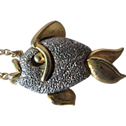 SALE Unusual Fish Pendant in Pebbly Silver Tone and Gold on Chain by JJ