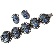 SALE Bracelet and Earrings in Powder Blue Plastic with Silver Tone Scroll Work Links