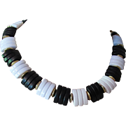 SALE Choker Necklace in Black and White Plastic Discs with Gold Tone Separators