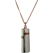 SALE Crown Trifari Modern Style Pendant Necklace in Cream Plastic Cube with Gold Tone Inserts