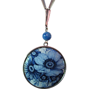 SALE Pendant Locket Necklace in Delft Style with Flowers in Tones of Blue