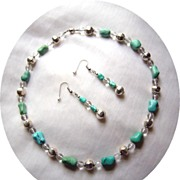 SOLD Artisan Crafted Turquoise, Sterling Silver, And Faceted Clear Quartz Necklace & Earring S
