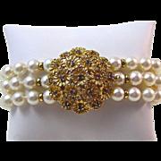SALE Extraordinary Triple Strand Cultured Pearl Sapphire Vintage 8 Inch Bracelet 18K