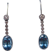 SALE Fabulous Aquamarine & Diamond Dangle Vintage Earrings 14K