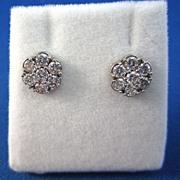 SALE Twinkling 1.00 Diamond 14K Floral Cluster Earrings