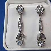 SALE Exquisite 1.24 Diamond Dangle Art Deco Vintage Earrings 14K