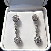 SALE Fabulous 1.32 Diamond Dangle Vintage Estate Earrings Platinum
