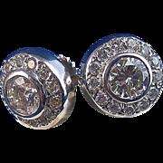 SALE Magnificent 1.43 Diamond Halo Vintage Estate Earrings 14K
