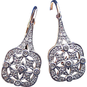 SALE Sparkling Diamond Filigree Vintage Earrings 14K