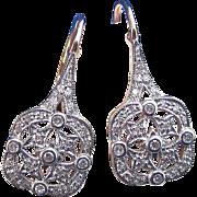 SALE Sparkling Diamond Filigree Vintage Earrings 14K