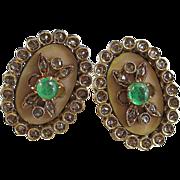 SALE Exquisite Emerald & Diamond Enameled Florentine Finish Antique Victorian Earrings 18K