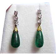 SALE Rare Emerald & Diamond Art Deco Dangle Earrings 14K