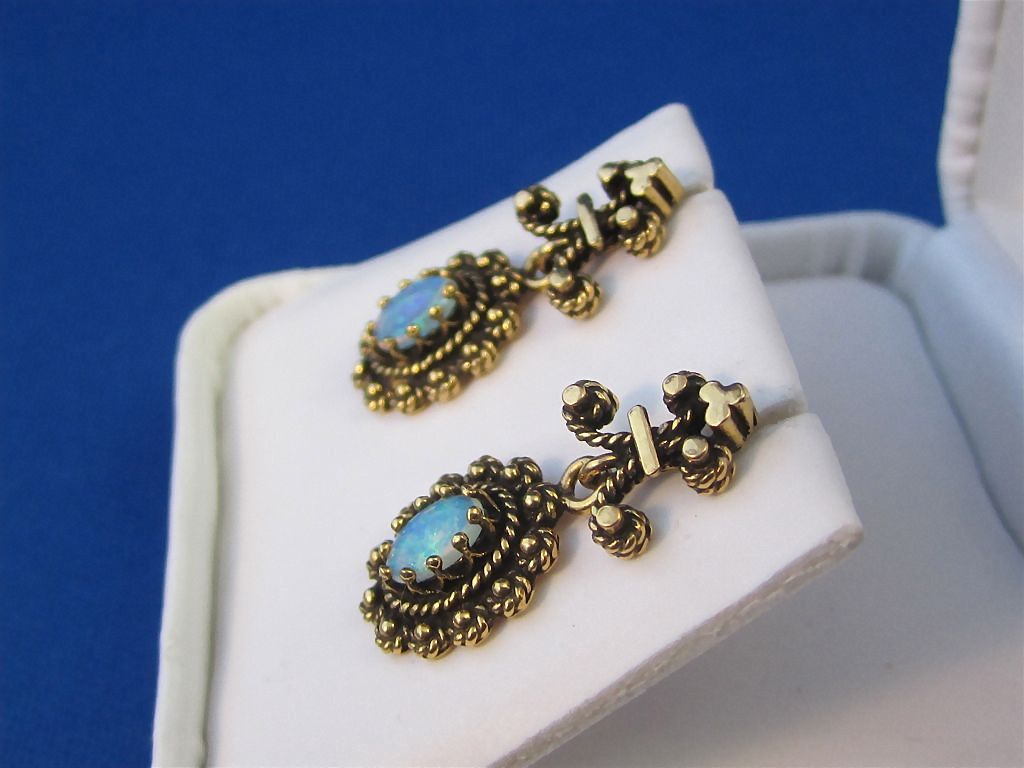 Sweetest Cabochon Opal Vintage Earrings 14k From