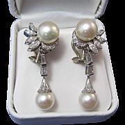 SALE Glamorous 1.50 Diamond & Cultured Pearl Dangle Platinum Vintage Earrings