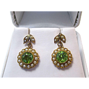 SALE Delightful Peridot & Cultured Pearl Dangle Earrings 10K