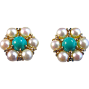 SALE Gorgeous Akoya Cultured Vintage Pearl & Natural Turquoise Earrings 14K