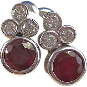 SALE Radiant 2.22 Natural Ruby and Diamond Vintage Earrings 14K