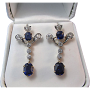 SALE Magnificent 2.76 No Heat Sapphire Diamond Dangle Art Deco Earrings 18K