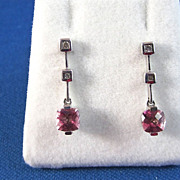 REDUCED Twinkling 1.60 Carat Tourmaline & Diamond Vintage Dangle Earrings 14K