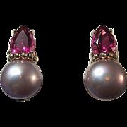 SALE Pink Tourmaline & Cultured Pearl Vintage Earrings 14K
