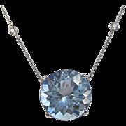 SALE Huge Natural Blue Topaz Diamond Necklace 14K