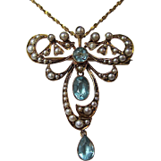 SALE Show-Stopping 2.25 Aquamarine Downton Abbey Antique English Victorian Brooch/Pendant 15K