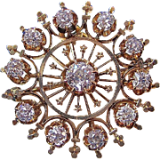 SALE Glorious 1.55 Diamond Victorian Brooch/Pendant 14K
