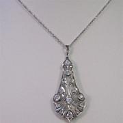SALE Elegant Diamond Art Deco Platinum Lavaliere Necklace