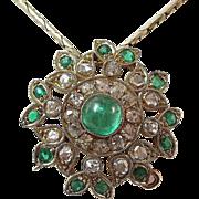 SALE Sophisticated .48 Royal Emerald & Diamond Vintage Pendant-Pin 18K