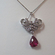 SALE Elegant Tourmaline & Diamond Vintage Necklace 18K