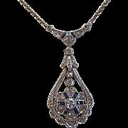 SALE Charming Diamond & Natural Sapphire Victorian Antique Lavaliere Necklace 18K