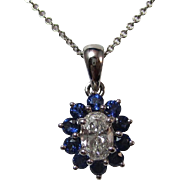 SALE Very Special 1.00 Sapphire and Diamond Vintage Necklace 14K