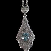 SALE Exquisite Blue Zircon Filigree White Gold Vintage Necklace 14K