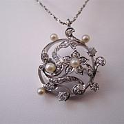 SALE Sophisticated Art Nouveau/Edwardian Antique Diamond, Pearl & Platinum Brooch/Pendant