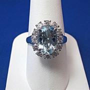 SALE Gorgeous 2.75 Aquamarine & Diamond Vintage Ring 14K