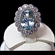 SALE Extraordinary Aquamarine & VS Diamond Estate Engagement/Dinner Ring Platinum