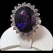 SALE Spectacular 9.86 Amethyst & Diamond Vintage Ring 14K