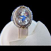 SALE Aquamarine & Cultured Seed Pearls Filigree Art Deco 14K/18K Gold Vintage Ring