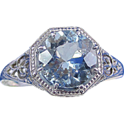 SALE Astonishing Edwardian 1.75 Ct. Aquamarine Downton Abbey Engagement Vintage Ring 14K