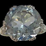 SALE Exquisite 4.78 Aquamarine Diamond  Downton Abbey Art Deco Vintage Ring Platinum