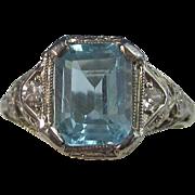 SALE Charming 1.99 Blue Topaz & Diamond Art Deco Vintage Ring 14K