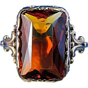 SALE Wonderful 5.51 Natural Madeira Citrine English Vintage Ring