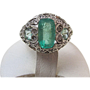 SALE Rare Emerald, Aquamarine, & Diamond Vintage Engagement/Dinner Ring 18K